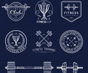 Fitness training label with logotype vector set 04