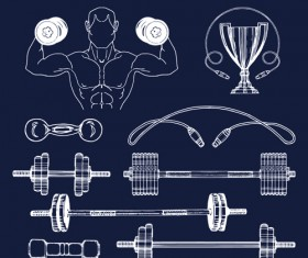 Fitness training label with logotype vector set 05