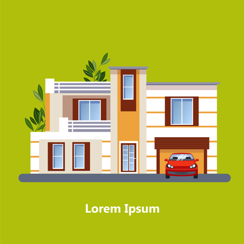 Flat style houses creative template vector set 08
