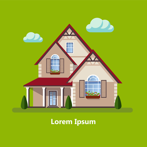 Flat style houses creative template vector set 17
