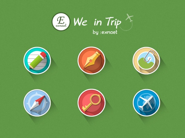 Flat styles travel icons material