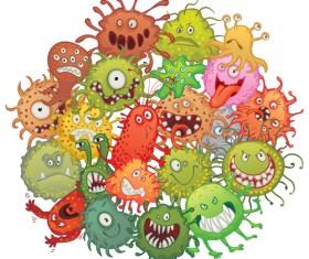 Funny bacteria cartoon styles vector 01