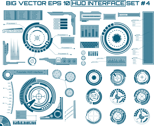 Futuristic Hud Interface Template Vector 03 Vector