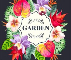 Garden flower frame design art vector 03