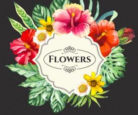 Garden flower frame design art vector 05
