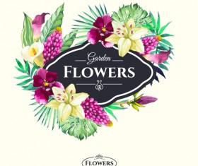Garden flower frame design art vector 06