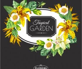 Garden flower frame design art vector 08