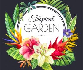 Garden flower frame design art vector 09