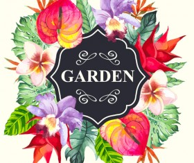 Garden flower frame design art vector 12