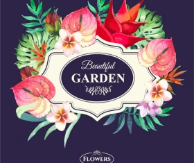 Garden flower frame design art vector 15
