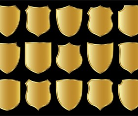 Gold lables blank template vector 01