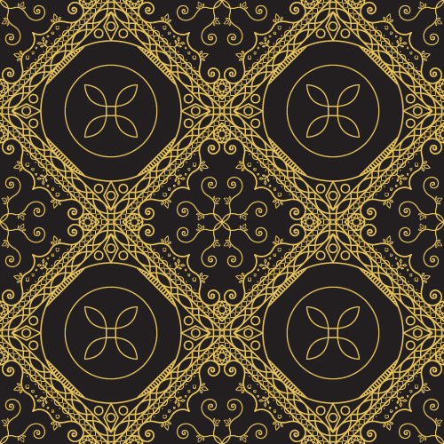 Gold lineart seamless pattern luxury vector 01