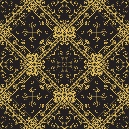 Gold lineart seamless pattern luxury vector 02