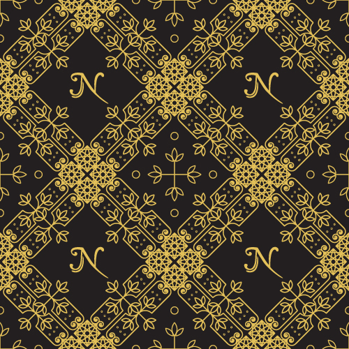 Gold lineart seamless pattern luxury vector 04
