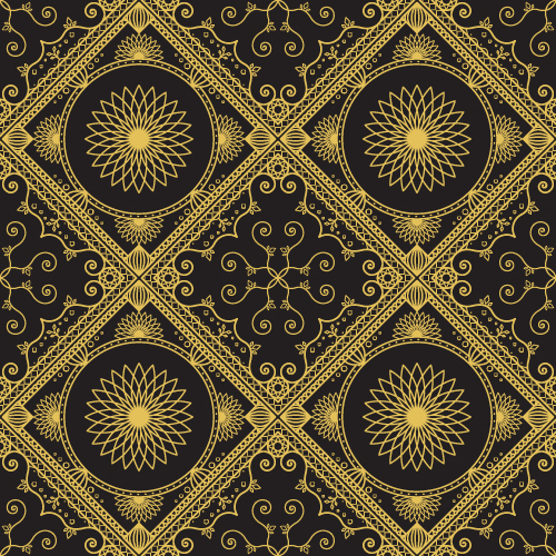 Gold lineart seamless pattern luxury vector 06