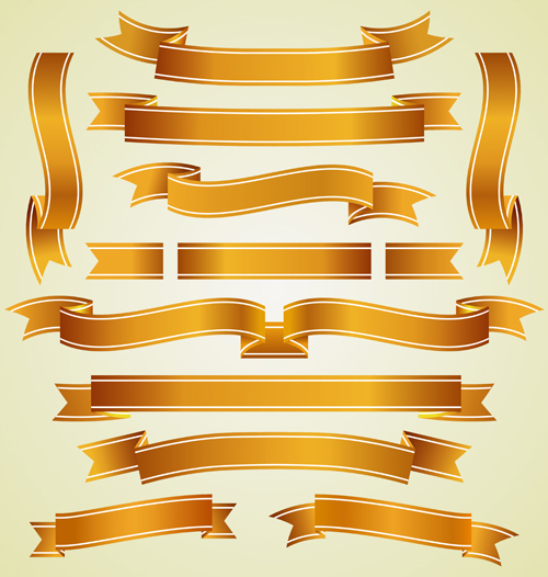 Gold ribbon banners luxury vector 03