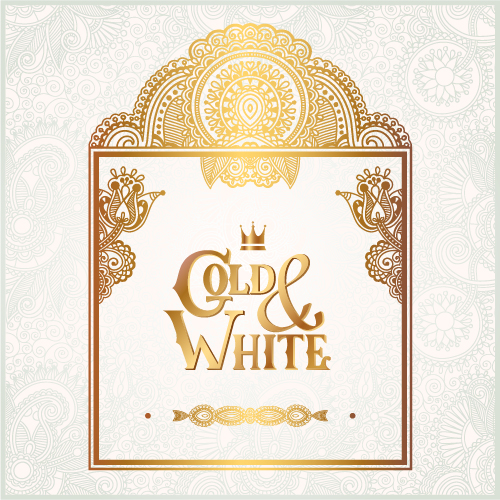 Gold with white floral ornaments background vector illustration set 03