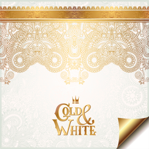 Gold With White Floral Ornaments Background Vector