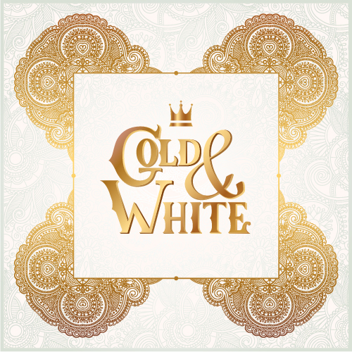 Gold with white floral ornaments background vector illustration set 08