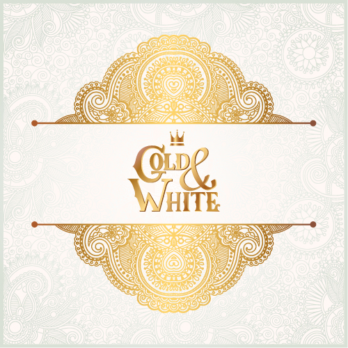 Gold with white floral ornaments background vector illustration set 10