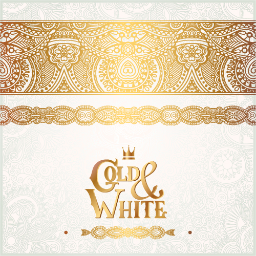 Gold with white floral ornaments background vector illustration set 12