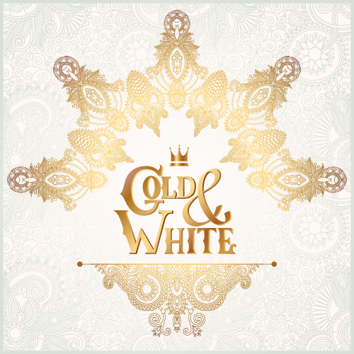 Gold with white floral ornaments background vector illustration set 13