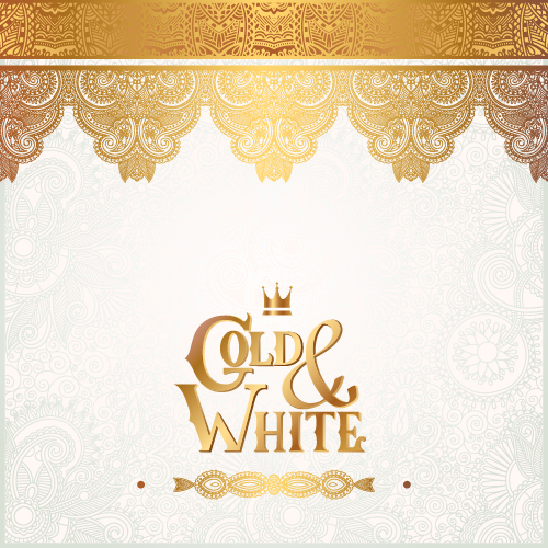 Gold with white floral ornaments background vector illustration set 14