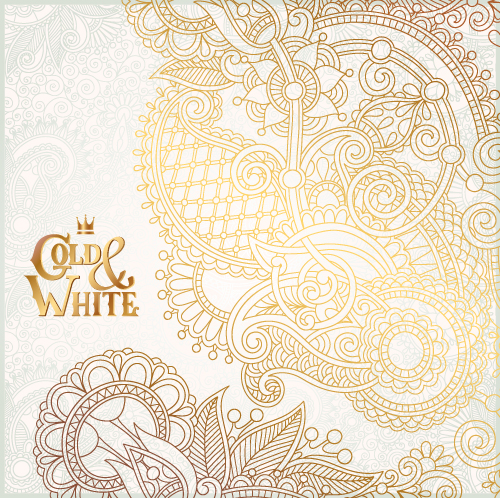 Gold with white floral ornaments background vector illustration set 15
