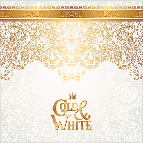 Gold with white floral ornaments background vector illustration set 17