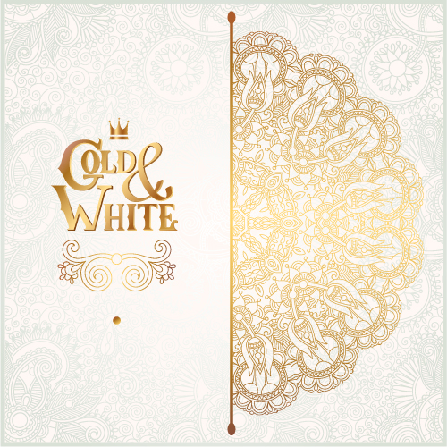Gold with white floral ornaments background vector illustration set 19