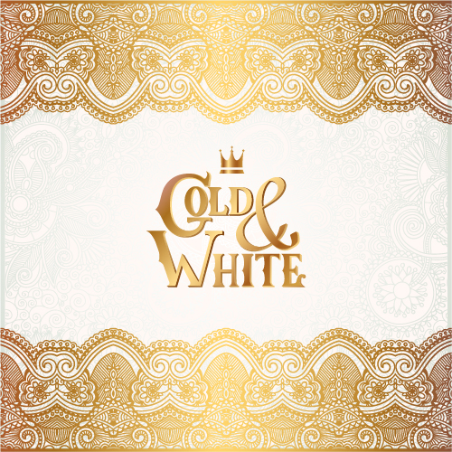 Gold with white floral ornaments background vector illustration set 20