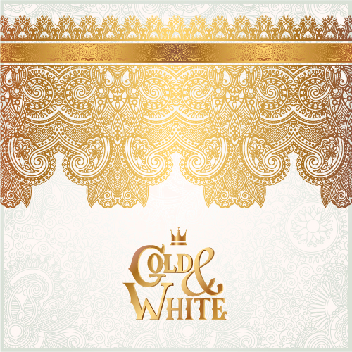 Gold with white floral ornaments background vector illustration set 21