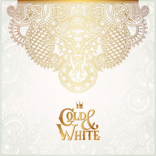 Gold with white floral ornaments background vector illustration set 24