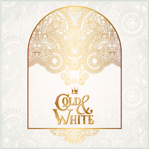 Gold with white floral ornaments background vector illustration set 25