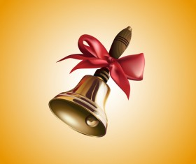 Golden bell with red bow vector material 03