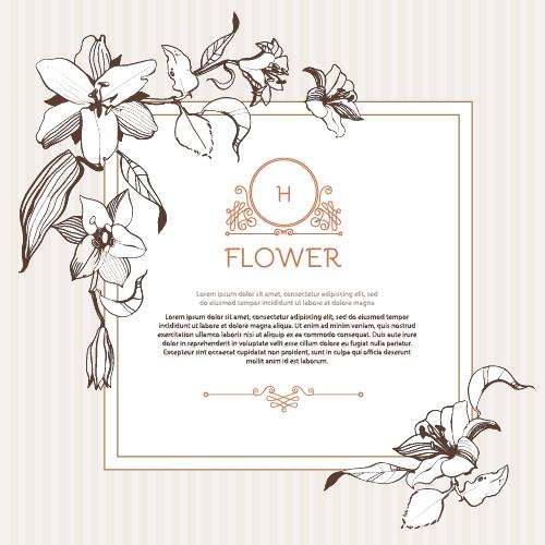 Hand drawn flower vintage frame vector 01 free download
