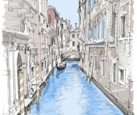 Hand drawn town with river vector 01