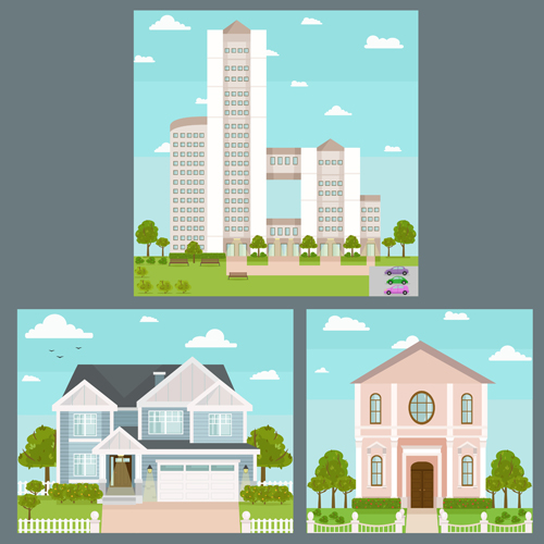 Houses concept flat template vector 06