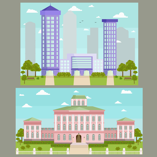 Houses concept flat template vector 09
