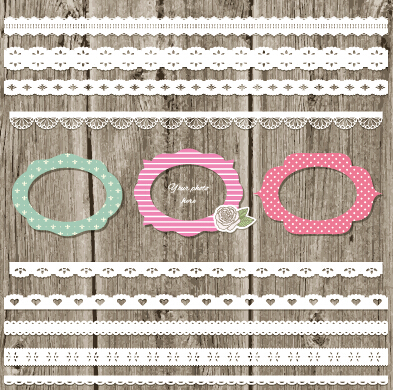 Lace border with cute frame vector
