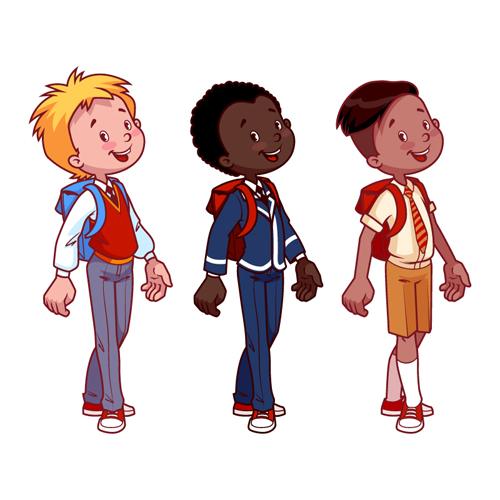 lovely kids children cartoon graphics vector set 16 - Free Children Cartoon