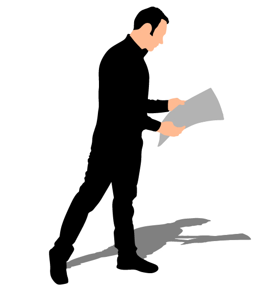 Man reading newspaper vector silhouette
