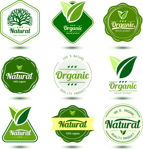 Natural product labels design vector free download
