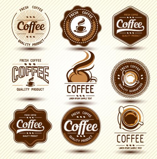 Original design coffee labels vector material 01