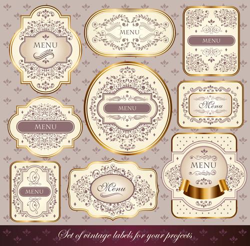 Ornate menu gold labels vector material