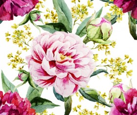 Peony watercolor drawn seamless pattern vector
