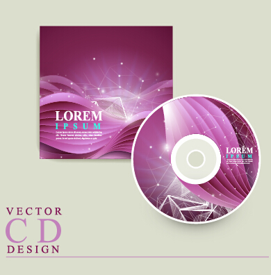 Purple CD cover design vector