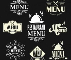 Restaurant menu labels vintage vector 02