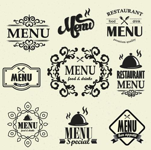 Restaurant Menu Labels Vintage Vector 03 Vector Label