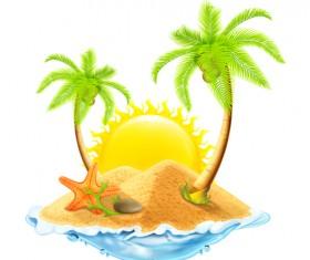 Sea island summer holiday elements vector background 01